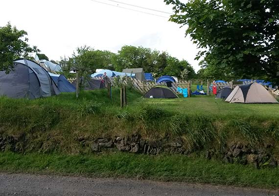 We use our orchard (also terraced) for additional camping.